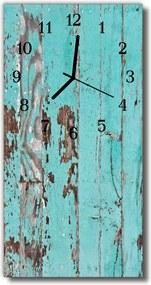 Sklenené hodiny vertikálne  Retro modré drevo