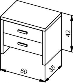 Nočný stolík MS 4   /výpredaj - orech/ Rozmer - postelí, roštov, nábytku: 44,5 x 50 x 35 cm