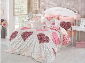 Ružové obliečky a plachta na dvojlôžko Love Salmon, 200 × 220 cm