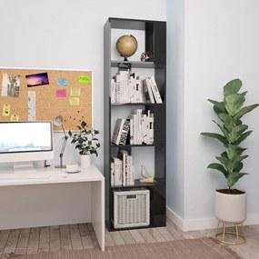 vidaXL Knižnica/deliaca stena lesklá čierna 45x24x159 cm drevotrieska