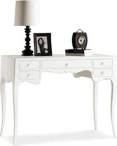 Biely drevený pracovný stôl s 5 zásuvkami Castagnetti Lido