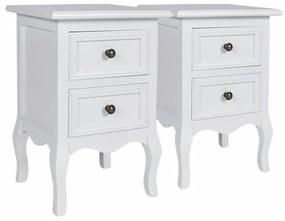 vidaXL Nočné stolíky 2 ks s 2 zásuvkami, MDF, biele