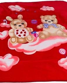 Detská deka Homa Medvedíci červená