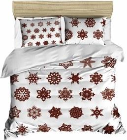 Sada obliečky a plachty na dvojposteľ Christmas Snowflakes White, 200 × 220 cm