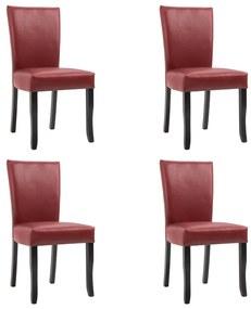vidaXL Jedálenské stoličky 4 ks, vínovo červené, umelá koža