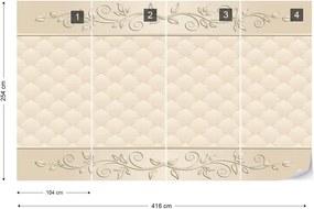 Fototapeta GLIX - Floral Beige  + lepidlo ZADARMO Vliesová tapeta  - 416x254 cm