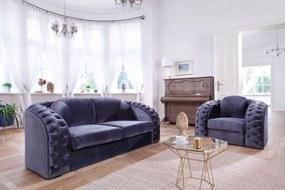 PYKA Chesterfield New sedacia súprava wenge / kráľovská modrá (Fresh 11)