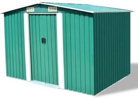 vidaXL Záhradná kovová úložná kôlňa, zelená, 257x205x178 cm