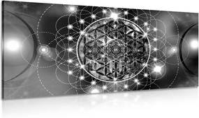 Obraz očarujúca Mandala v čiernobielom prevedení