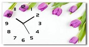 Sklenené hodiny na stenu Fialové tulipány pl_zsp_60x30_f_78573099