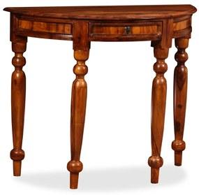 vidaXL Polkruhový príručný stolík, masívne sheeshamové drevo, 90x40x76 cm