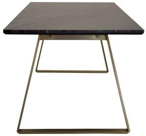 Estelle jedálenský stôl 200x90 cm (mosadz / sivý mramor)
