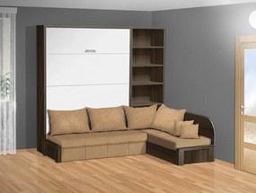 Nabytekmorava Sklápacia posteľ s rohovou pohovkou VS 3075P - 200x140 cm nosnost postele: štandardná nosnosť, farba lamina: buk/biele dvere, farba pohovky: nubuk 133 caramel