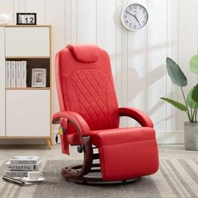 vidaXL Sklápacie masážne TV kreslo, červené, umelá koža