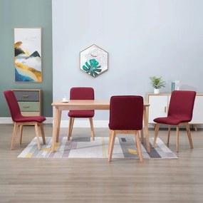 vidaXL Jedálenské stoličky 4 ks, červené, látka a dubový masív