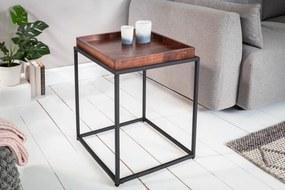 IIG -  Bočný stolík ELEMENTS 40 cm odnímateľný podnos z bukového dreva Mocha