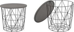 Halmar MARIFFA stolík kostra - čierna, doska - šedá
