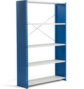Policový kovový regál Mix, základná sekcia, 2100x1365x500 mm, modrá, šedá