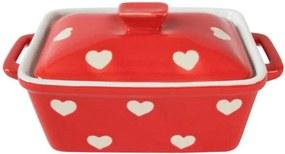 Keramická maselnička / zapekacia miska s pokrievkou - červená so srdiečkami