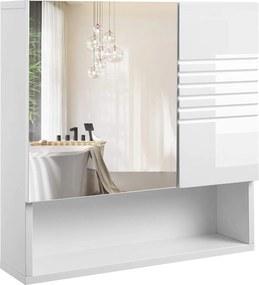 Rongomic Zrkadlová kúpeľňová kříňka VASAGLE biela