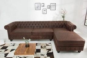 Rohová sedačka Chesterfield vintage hnedá