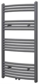 Šedý rebríkový radiátor na centrálne vykurovanie, zaoblený 600 x 1160 mm