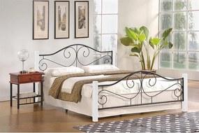HALMAR Violetta 120 kovová jednolôžková posteľ s roštom biela / čierna