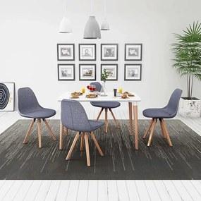 vidaXL 5-dielna jedálenská súprava stola a stoličiek, biela a bledošedá