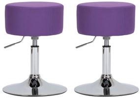 vidaXL Barové stoličky 2 ks fialové umelá koža