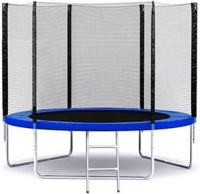 Trampolína 252 cm JustJump Modrá s ochrannou sieťou a rebríkom 8FT