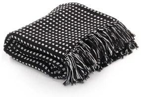 vidaXL Deka, bavlnená, štvorčeky 160x210 cm, čierna