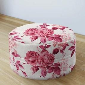 Goldea sedacie bobek 50x20cm - loneta - vzor veľké červené ruže 50 x 20 cm