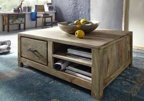 Bighome - NATURAL Príručný stolík  poličkami 100x70 cm, palisander