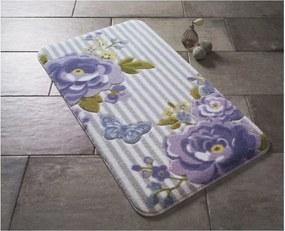 Vzorovaná fialová predložka do kúpeľne Confetti Bathmats Roses, 80 × 140 cm