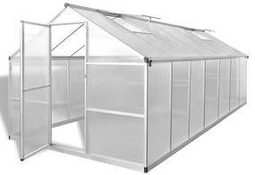vidaXL Spevnený hliníkový skleník so základným rámom 10,525 m²