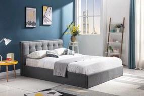 HALMAR Padva 90 čalúnená jednolôžková posteľ s roštom sivá