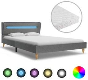 vidaXL Posteľ s LED a matracom, svetlosivá, látka 120x200 cm