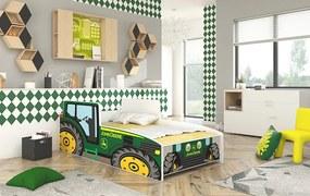 Detská posteľ s matracom 160x80 cm Traktor zelený