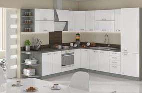 Priestorná rohová kuchyňa biela 260x270 cm HULK