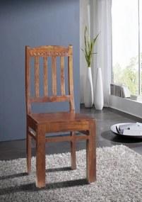 Bighome - CAMBRIDGE Jedálenská stolička - opierka so vzorom, akácia