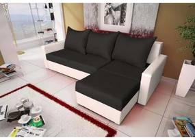 Rohová sedacia súprava KRISTER BIS, čierna + biela