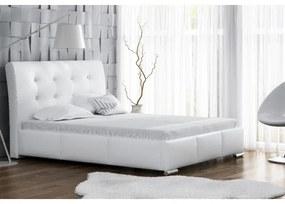 Elegantné jednolôžko Donna s úložným priestorom biela eko koža 140 x 200