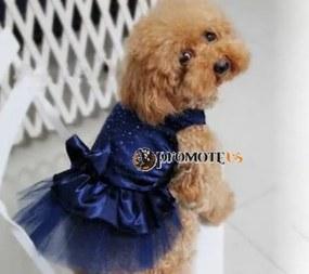 PETOP Modré šaty Marilyn pre fenky XS