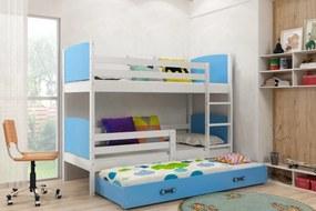 Poschodová posteľ s prístelkou TAMI 3 - 160x80cm - Biela - Modrá
