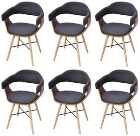6 ks jedálenské stoličky z ohýbaného dreva s látkovým poťahom