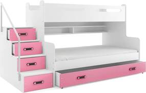 Poschodová posteľ MAX 3 - 200x120cm - Biela - Ružová