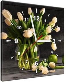 Obraz s hodinami Krémové tulipány 30x30cm ZP1392A_1AI