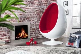 Dizajnové kreslo Space Egg White Red