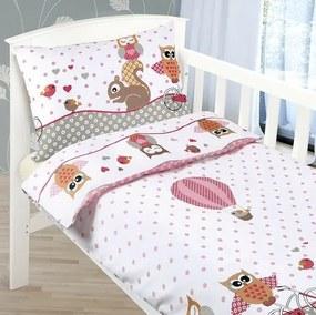 Bellatex Detské bavlnené obliečky do postieľky Agáta Sovička ružová, 90 x 135 cm, 45 x 60 cm