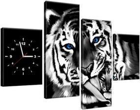 Obraz s hodinami Tigre ako maľované 120x80cm ZP2573A_4E